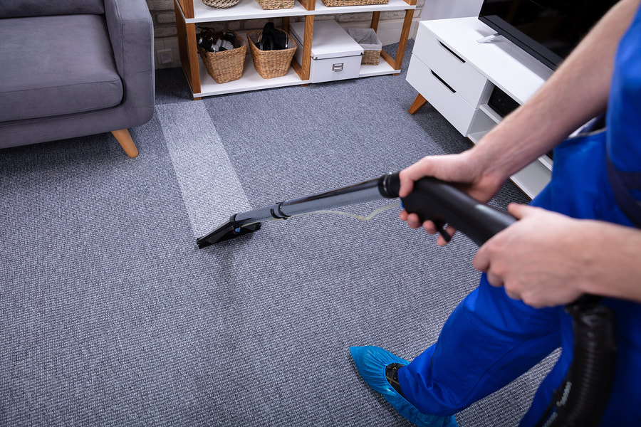 cleaner doing carpet cleaning
