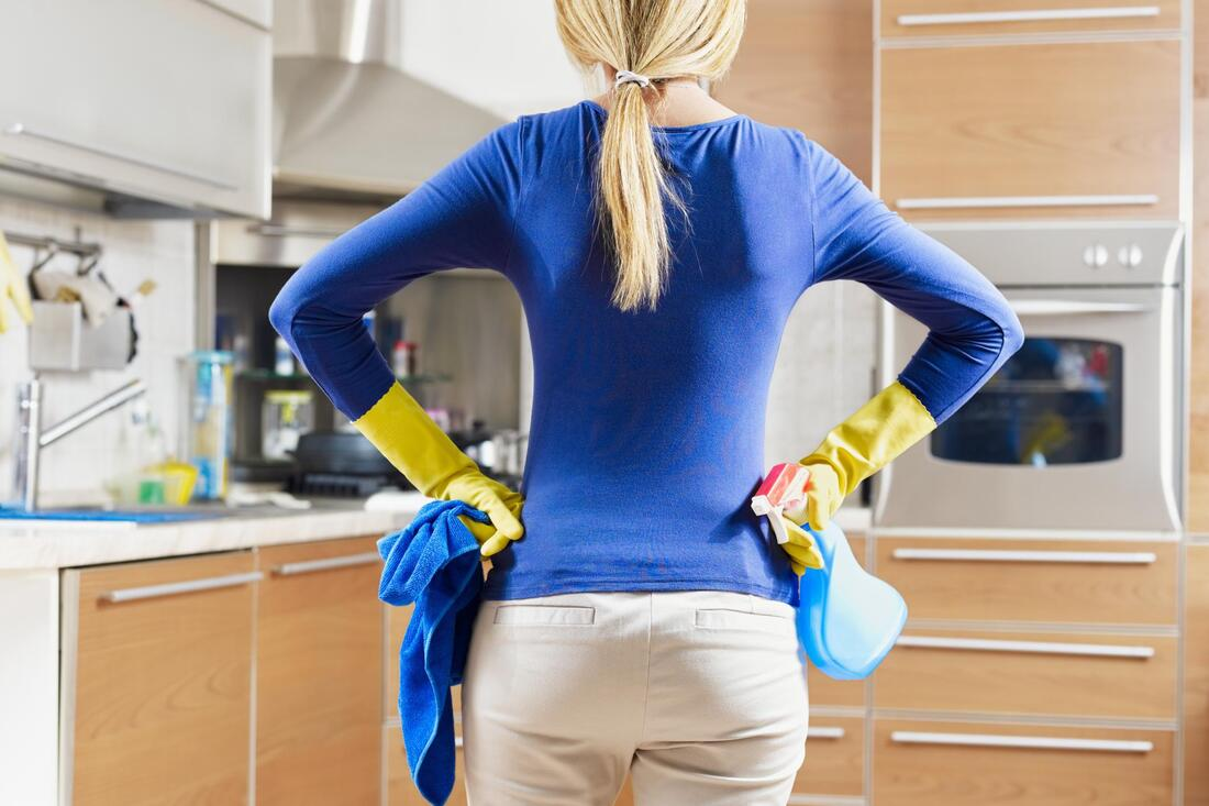 house maid doing condo cleaning